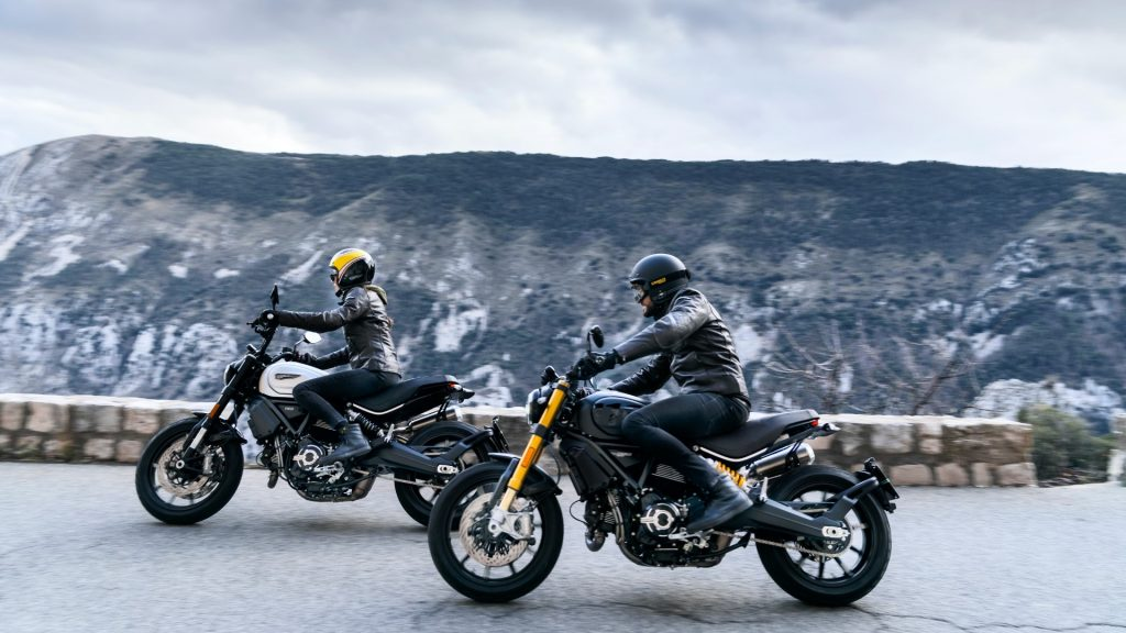 Ducati Scrambler 1100 Pro and Sport Pro riding on street